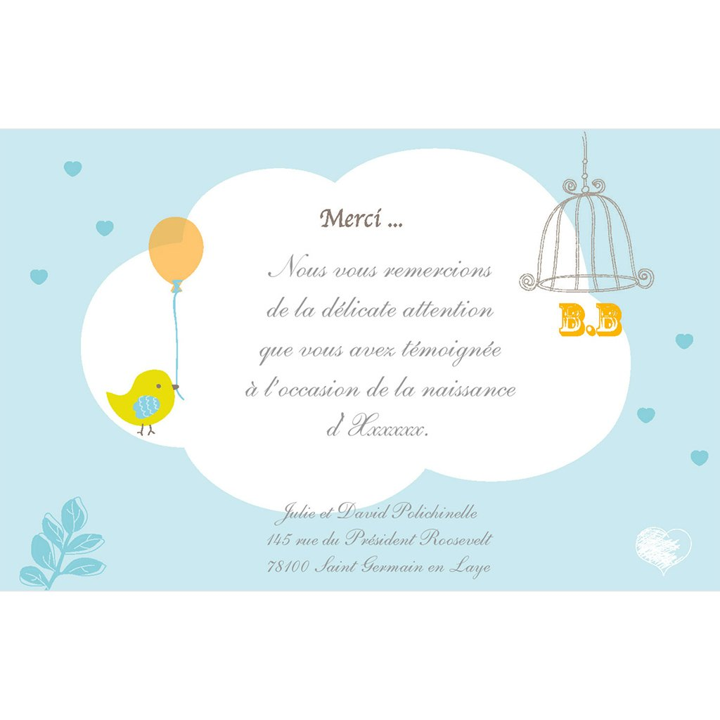 Carte de Remerciement Naissance Sucre d'Orge bleu pas cher