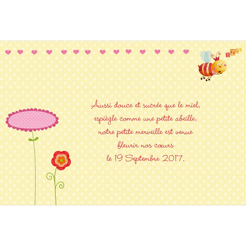 Faire-part de Naissance Honey rose sans photo gratuit