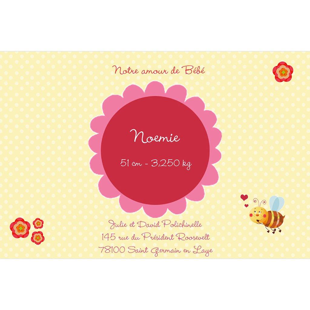Faire-part de Naissance Honey rose sans photo