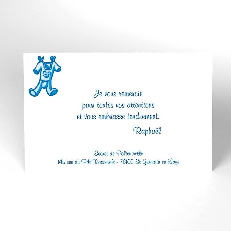 Carte de Remerciement Naissance Layette garçon