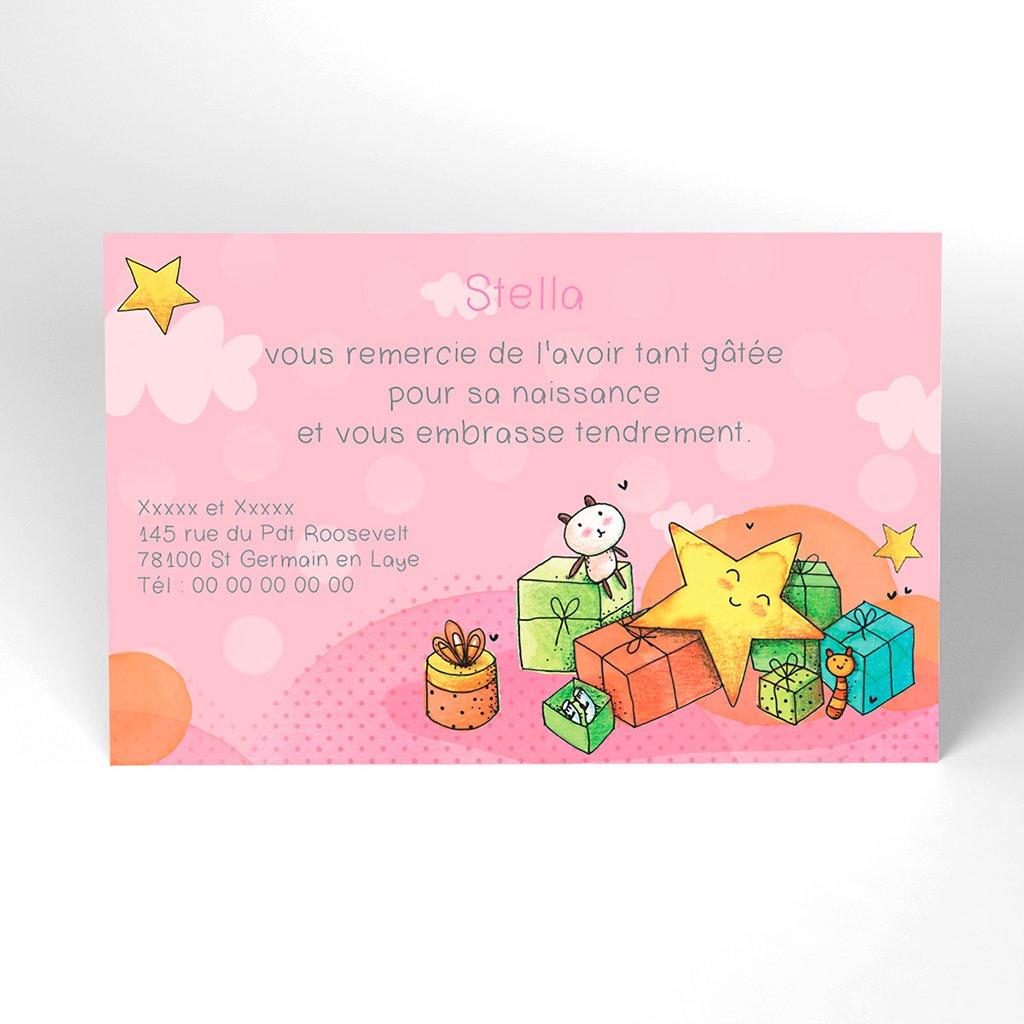 Carte de Remerciement Naissance Petite Etoile rose