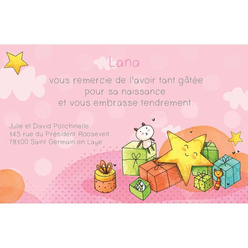 Carte de Remerciement Naissance Petite Etoile rose pas cher