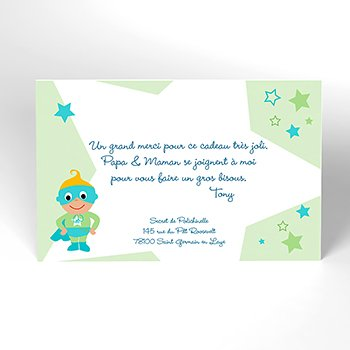 Carte de Remerciement Naissance Super Bébé