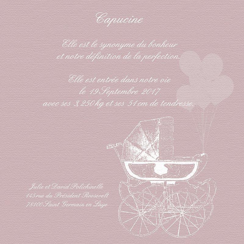 Faire-part de Naissance Petit Versailles Rose pas cher