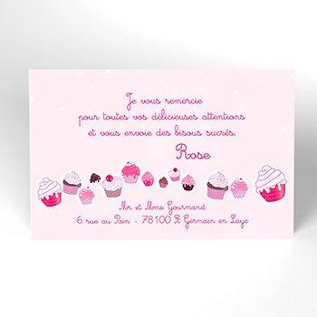 Carte de Remerciement Naissance Cupcakes personnalisé