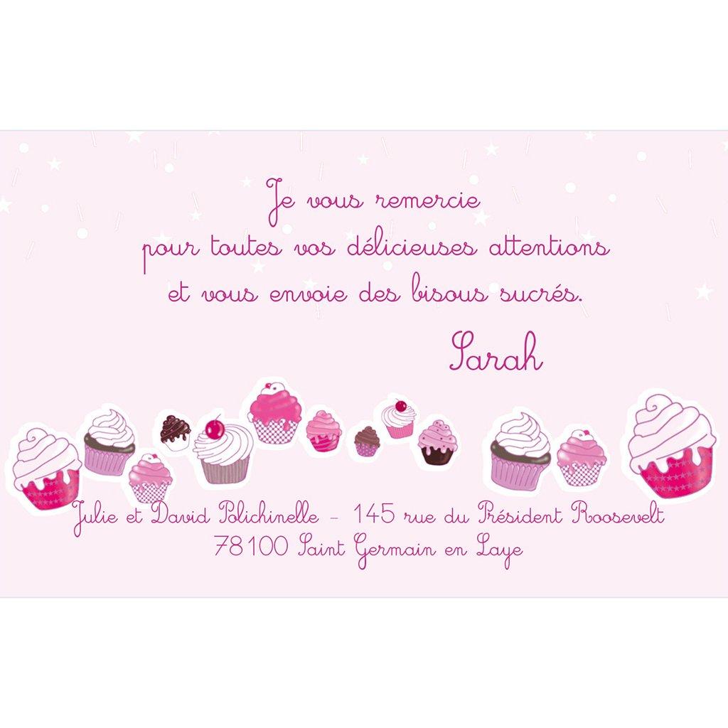 Carte de Remerciement Naissance Cupcakes pas cher