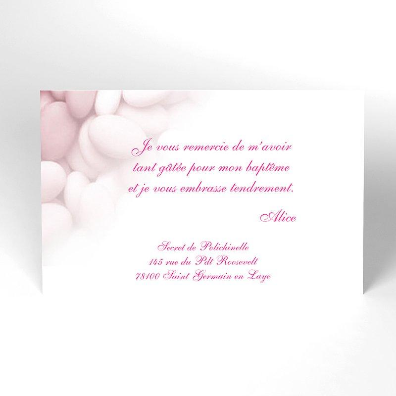 Carte de Remerciement Baptême Dragées rose
