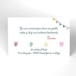 Carte de Remerciement Naissance Les Doudous