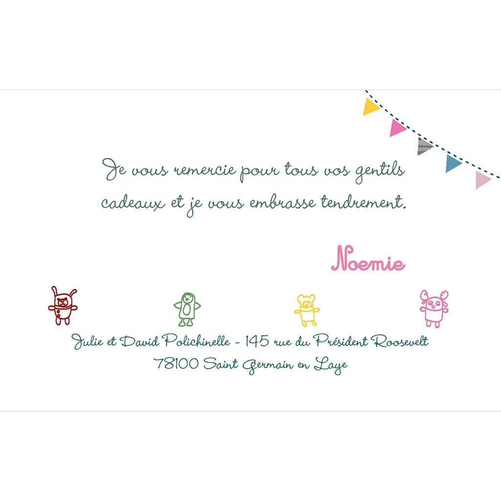 Carte de Remerciement Naissance Les Doudous pas cher