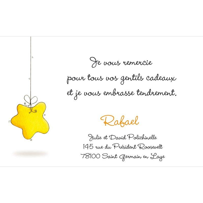 Carte de Remerciement Naissance Douce Nuit pas cher