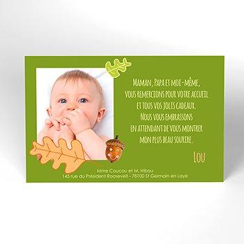 Carte de Remerciement Naissance Un air d'automne original