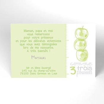 Carte de Remerciement Naissance Comme 3 pommes personnalisé