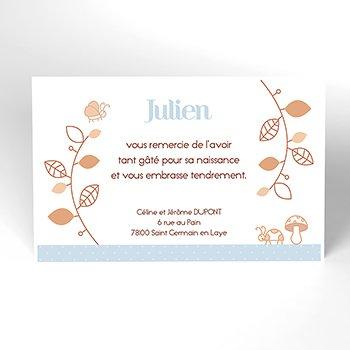 Carte de Remerciement Naissance Le Petit Faon bleu personnalisé