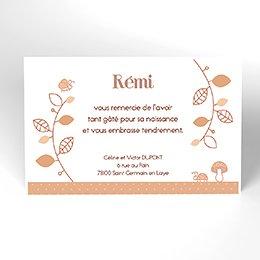 Carte de Remerciement Naissance Le Petit Faon beige