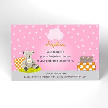 Carte de Remerciement Naissance Baby room rose