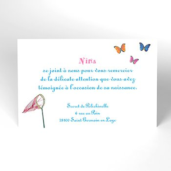 Carte de Remerciement Naissance L'Envolée garçon personnalisé