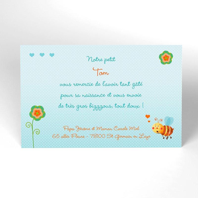 Carte de Remerciement Naissance Honey bleu