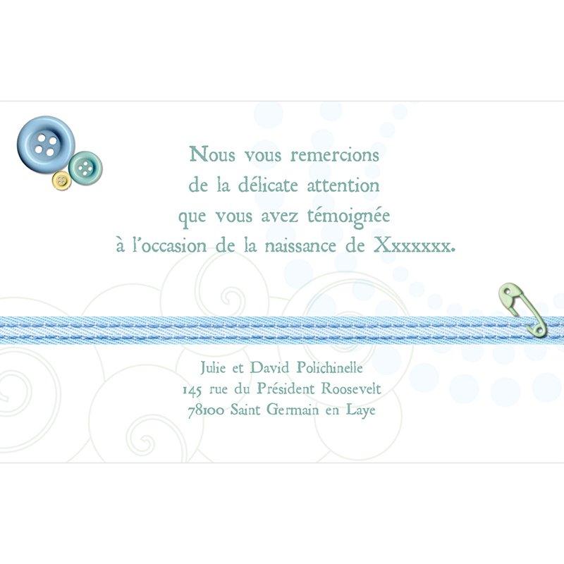 Carte de Remerciement Naissance Accroche-Coeur pas cher