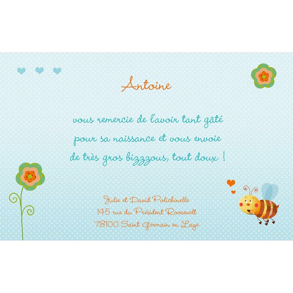 Carte de Remerciement Naissance Honey bleu pas cher