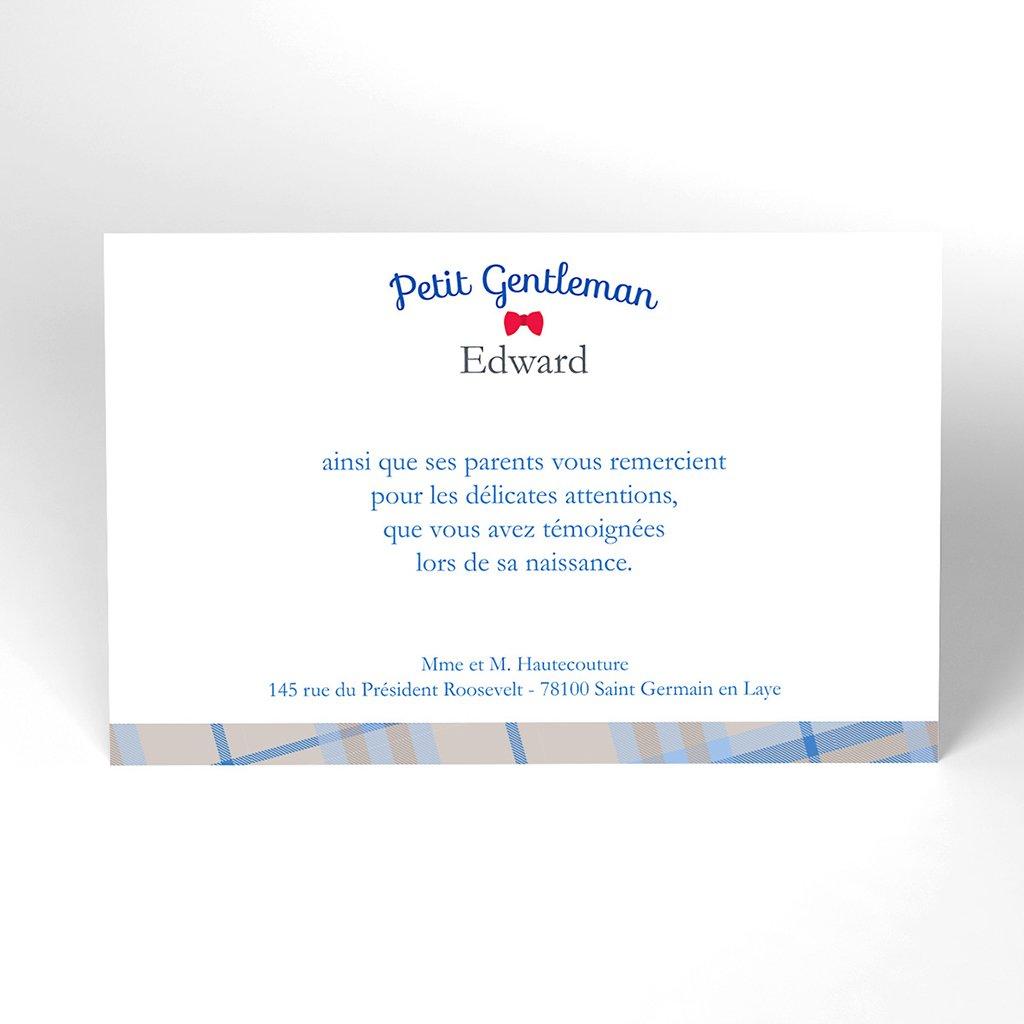 Carte de Remerciement Naissance Petit Gentleman