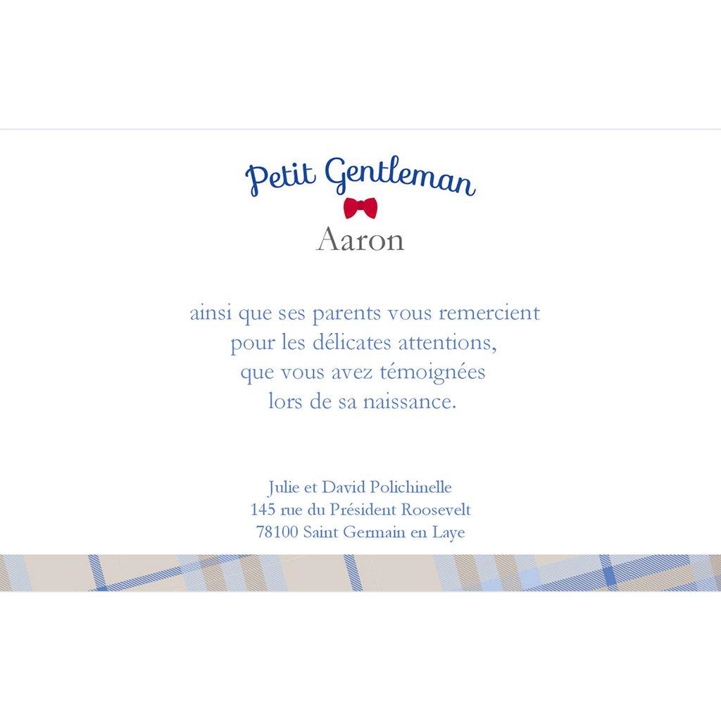Carte de Remerciement Naissance Petit Gentleman pas cher