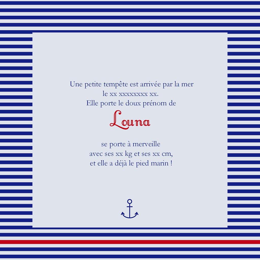 Faire-part de Naissance Ligne Marine gratuit