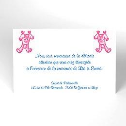 Carte de Remerciement Naissance Layette jumelles