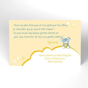 Carte de Remerciement Naissance Pretty Souris personnalisé