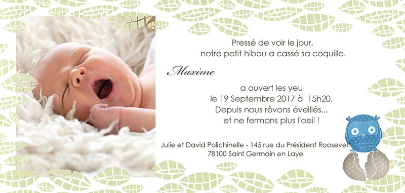 Faire-part de Naissance Chouette famille gratuit
