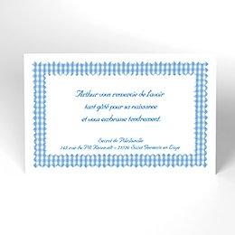 Carte de Remerciement Naissance Vichy bleu