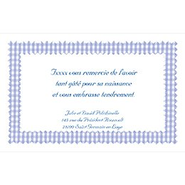 Carte de Remerciement Naissance Vichy bleu pas cher