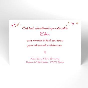 Carte de Remerciement Naissance Jardin Secret rose