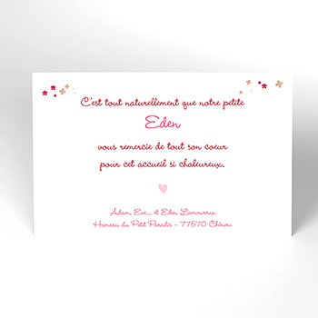 Carte de Remerciement Naissance Jardin Secret rose original