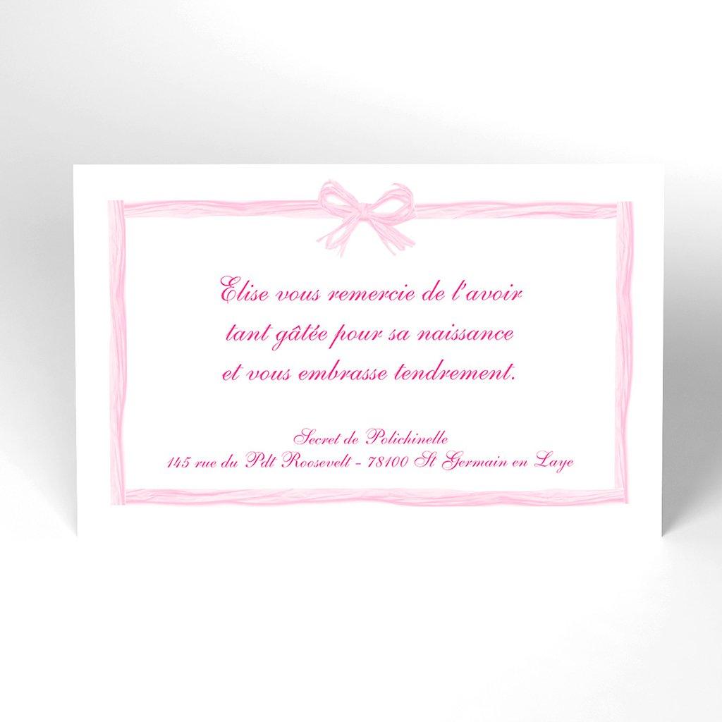 Carte de Remerciement Naissance Raphia Pastel rose