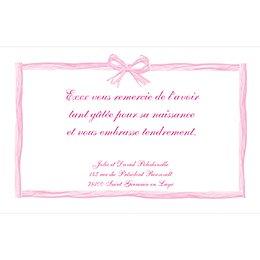 Carte de Remerciement Naissance Raphia Pastel rose pas cher