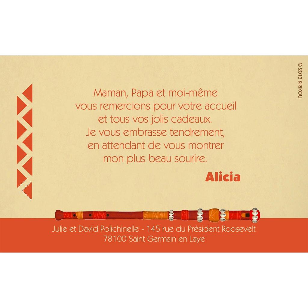 Carte de Remerciement Naissance Kirikou 14 fille pas cher