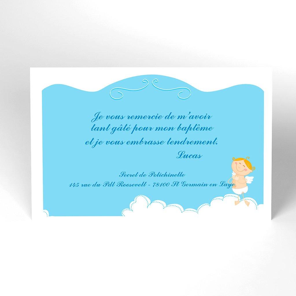 Carte de Remerciement Baptême Petit Ange