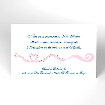 Carte de Remerciement Naissance Tourbillon