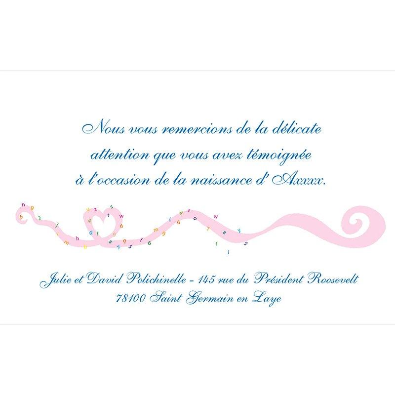 Carte de Remerciement Naissance Tourbillon pas cher