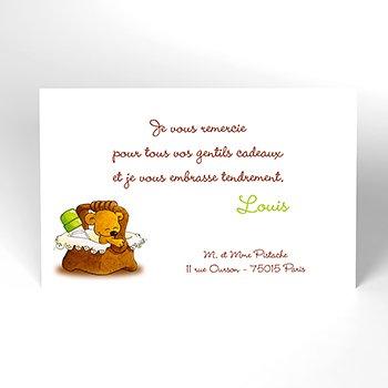 Carte de Remerciement Naissance Pistache
