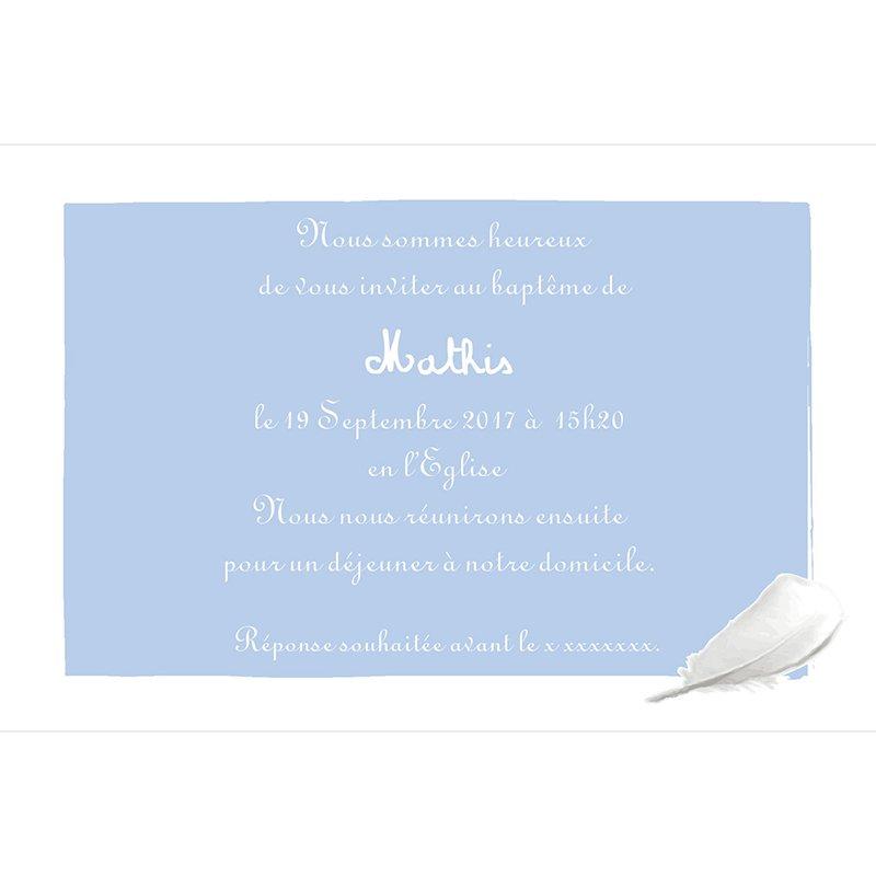 Faire-part de Baptême Cosy bleu Baptême gratuit