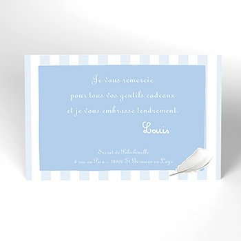 Carte de Remerciement Baptême Cosy bleu Baptême original