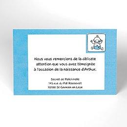 Carte de Remerciement Naissance Love Story bleu