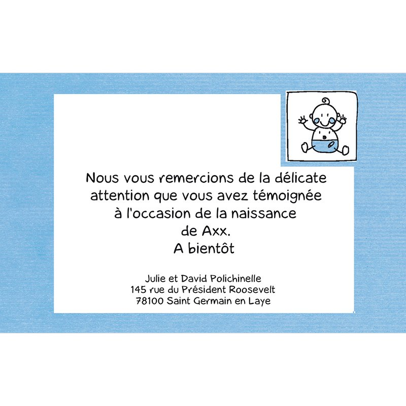 Carte de Remerciement Naissance Love Story bleu pas cher