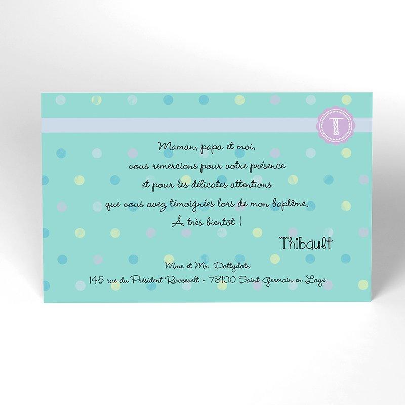 Carte de Remerciement Baptême Confettis baptême