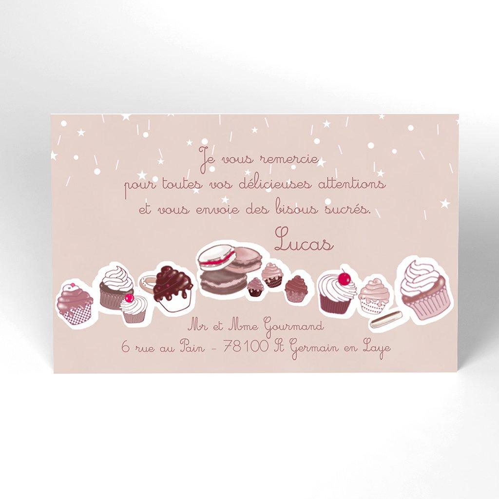 Carte de Remerciement Naissance Cupcakes