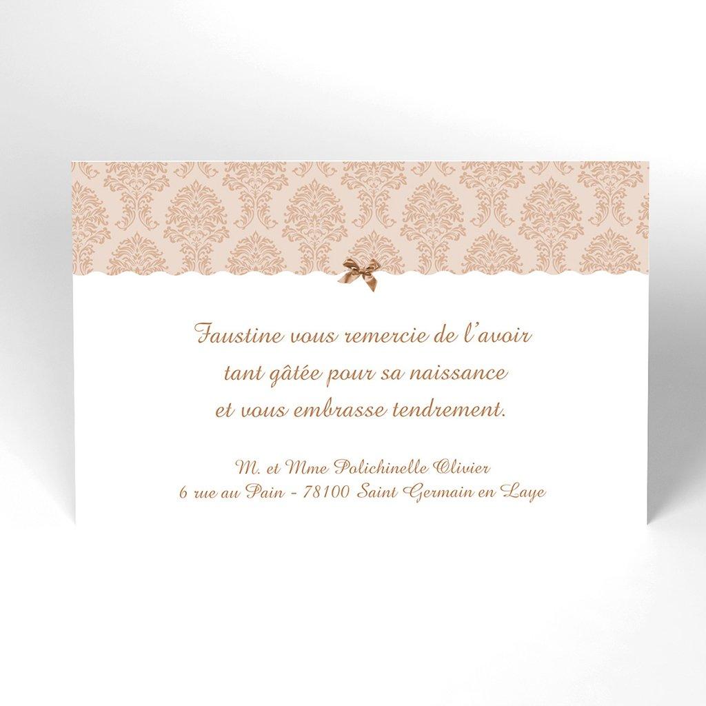 Carte de Remerciement Naissance Baroque