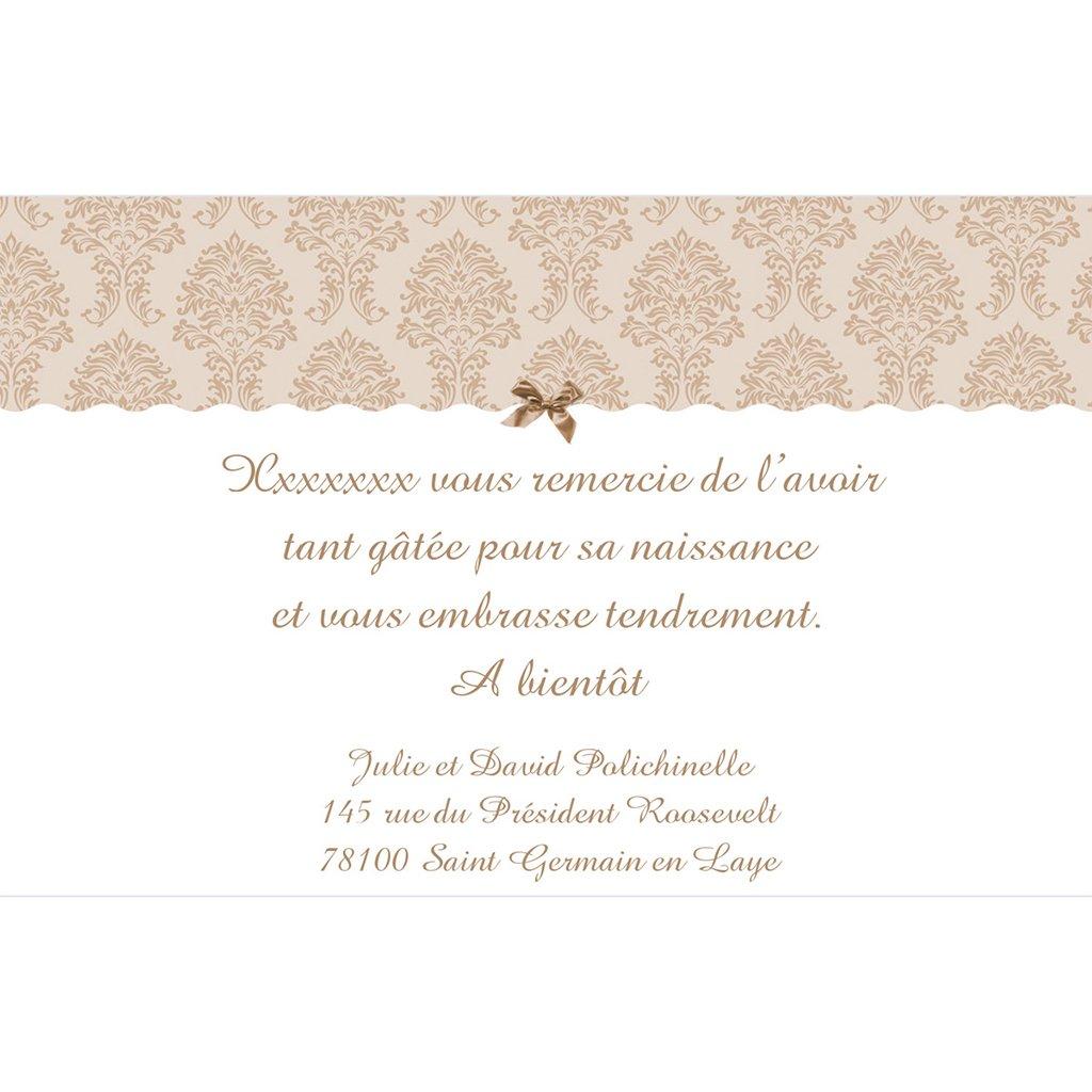 Carte de Remerciement Naissance Baroque pas cher