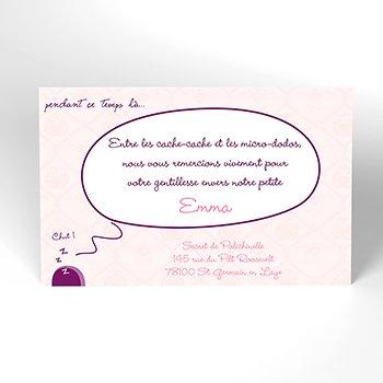 Carte de Remerciement Naissance Cachette secrète pas cher