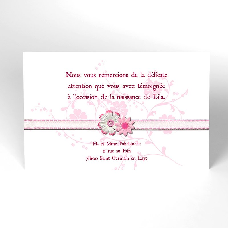 Carte de Remerciement Naissance Accroche-Coeur